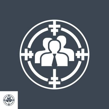 Target Audience Related Vector Glyph Icon. Isolated on Black Background. Vector Illustration.