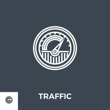 Traffic Related Vector Thin Line Icon. Isolated on Black Background. Vector Illustration.
