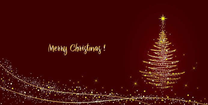 Christmas tree with a star on a dark red background. Abstract lines and shining lights on the herringbone and the text for congratulations on Christmas.