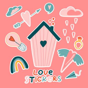 Love stickers. Signs, symbols, items and templates for planners, wedding invitations, notebooks, diaries, and Valentine's Day cards