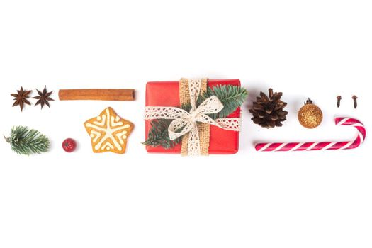 Minimalistic Christmas flat lay stripe of objects design top view isolated on white background. New Year concept.