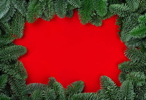 Christmas fir tree branches decor border frame on red background with copy space for text