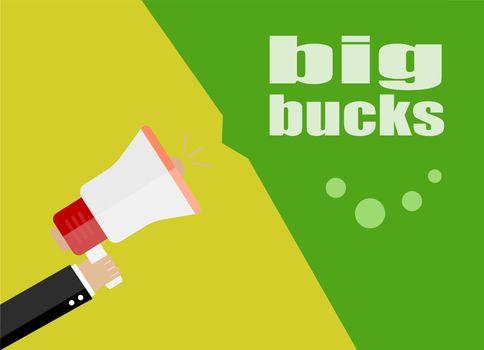 flat design business concept. big bucks. Digital marketing business man holding megaphone for website and promotion banners.