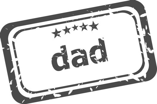 dad word on rubber stamp over a white background