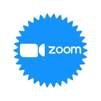 Zoom logo video conference application. Blue camera icon. Zoom app logo. Live media streaming application . Kharkiv, Ukraine - June, 2020