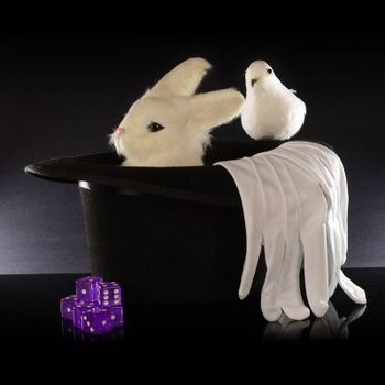 A closeup view of a magicians top hat full of tricks using a rabbit and other items.
