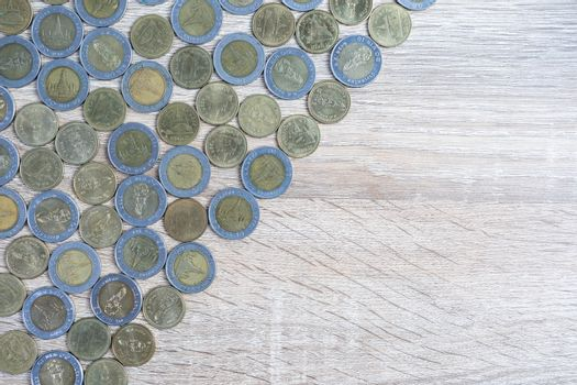 Top view on wood table using financial concept