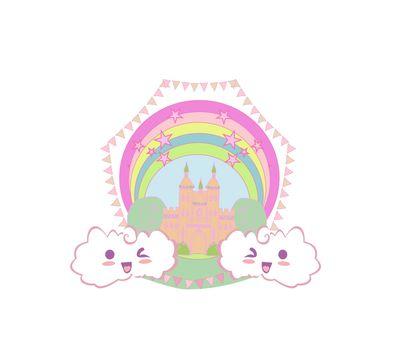 girlish frame with fairytale castle