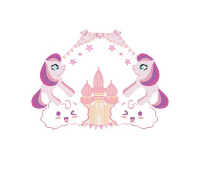 Cute unicorns and fairy-tale princess castle, girlish frame