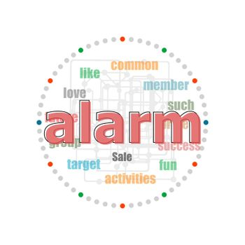 Text Alarm. Security concept . Word collage with different association terms
