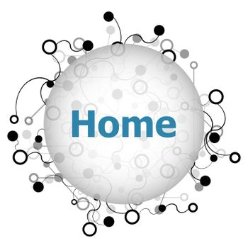 Text home. social concept . Abstract geometric background with lines, circles and dots