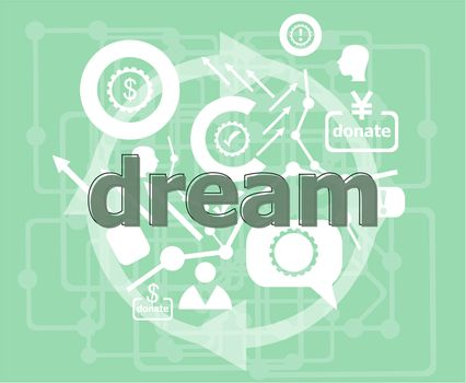 Text Dream. Social concept . Infographics collection icons of web development, user interface testing, mobile apps. Modern thin line icons set.