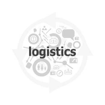 logistics word on digital screen. business concept . Icon and button set