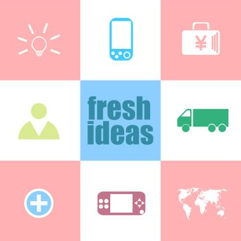 fresh ideas text. business concept . Infographic dashboard ui interface template