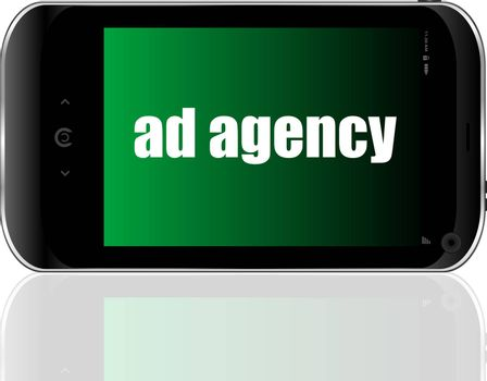 Text Ad agency. Management concept . Detailed modern smartphone