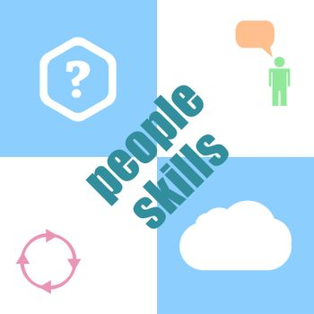 people skills Text. Education concept . Infographic dashboard ui interface template