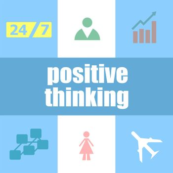 Text positive thinking. Education concept . Infographic dashboard ui interface template