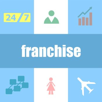 business concept. word franchise . Can be used for workflow layout, diagram, business step options, banner