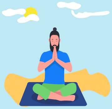 A Hipster man practicing meditation yoga on nature background. Man doing yoga sitting on the beach in padmasana lotus pose relaxing.