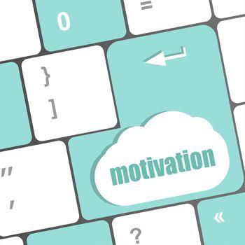 motivation text button on computer keyboard key