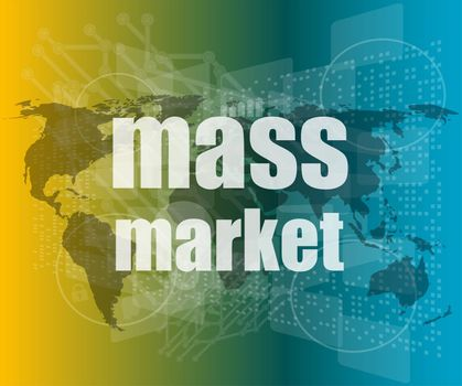 mass market words on digital touch screen interface