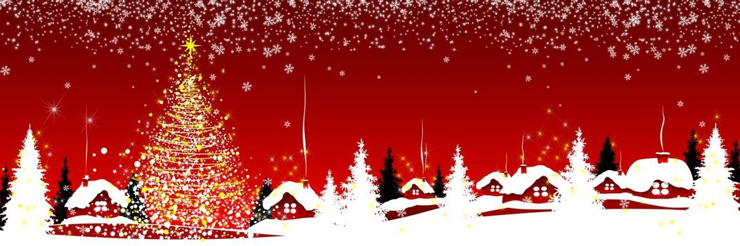 Christmas tree and houses on a red winter background. Snowflakes, snow, forest. Winter snowy night.