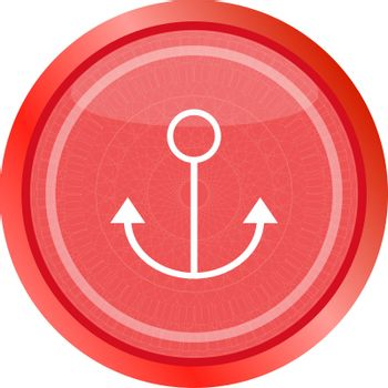 sea anchor sign on web icon button isolated on white