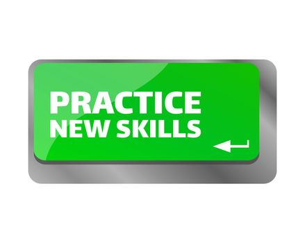 Practice new skills . Close up of keyboard, enter computer key.