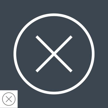 Cross Mark Thin Line Vector Icon. Flat icon isolated on the black background. Editable EPS file. Vector illustration.