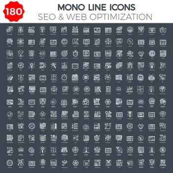 Thin Line Icons Set of Search Engine Optimization, Website and APP Design and Development. Simple Mono Line Pictogram Pack. Stroke Vector Logo Concept, Web Graphic. Vector icons.