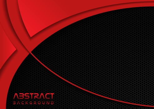Abstract Background with Grid and Red Shapes - Hexagonal Grid on Black and Red Layered Decorative Shapes, Vector Illustration