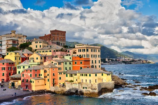 GENOA, ITALY - CIRCA AUGUST 2020: Boccadasse marina panorama, village on the Mediterranean sea with colourful houses.