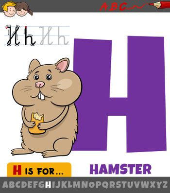 Educational cartoon illustration of letter H from alphabet with hamster animal for children