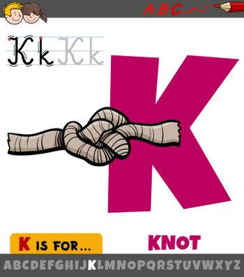 Educational cartoon illustration of letter K from alphabet with knot for children