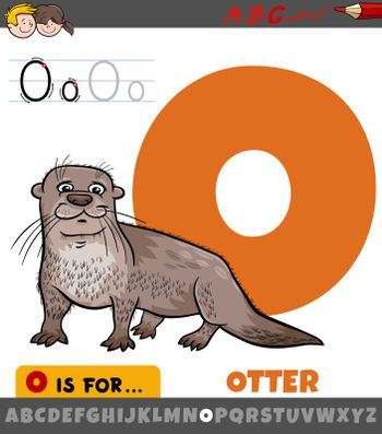 Educational cartoon illustration of letter O from alphabet with otter animal for children