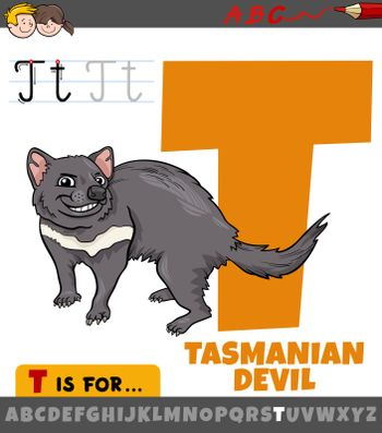 Educational cartoon illustration of letter T from alphabet with tasmanian devil animal character for children