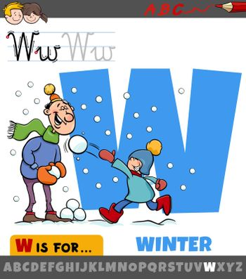 Educational cartoon illustration of letter W from alphabet with winter season for children