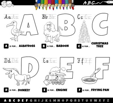 Black and white cartoon illustration of capital letters from alphabet educational set for reading and writing practise for children from A to F coloring book page