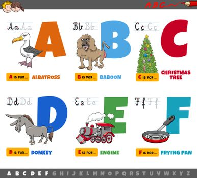 Cartoon illustration of capital letters from alphabet educational set for reading and writing practise for children from A to F