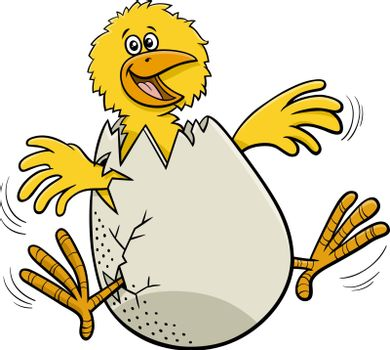 Cartoon illustration of funny little chick hatching from egg
