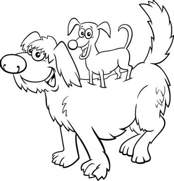 Black and white Cartoon illustration of funny little dog on big one comic characters coloring book page