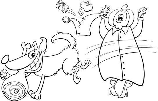 Black and white cartoon illustration of funny naughty dog stealing ham from an old lady coloring book page
