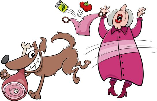 Cartoon illustration of funny naughty dog stealing ham from an old lady