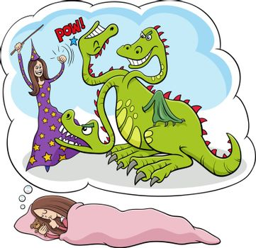 Cartoon illustration of sleeping young girl dreaming about defeating the dragon
