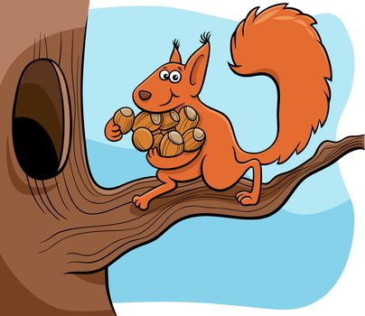 Cartoon illustration of funny squirrel animal character carrying acorns to the hollow in the tree