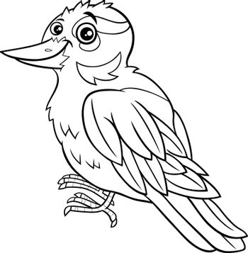 Black and white cartoon illustration of funny xenops bird animal character coloring book page