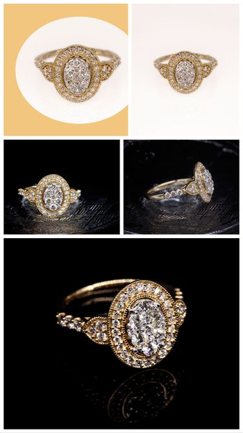 Collage Of A Halo Diamond Ring