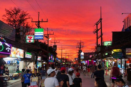PHUKET, THAILAND JUNE, 2018: Tourists walking to see sunset view at street night market of Phuket, Thailand on June 16, 2018.