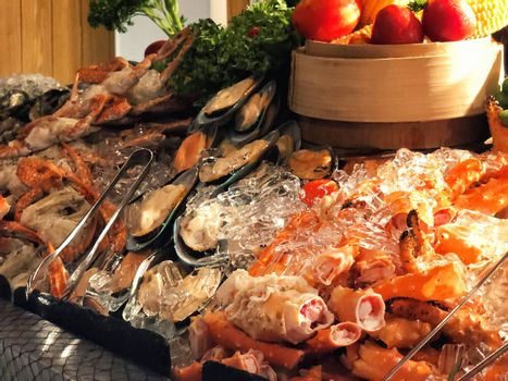 Seafood Buffet bar of lobster, prawns, squid, mussels.