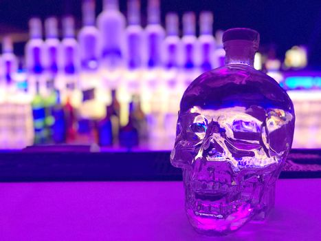 Skull bottles of alcoholic beverages bar in a luxury hotel